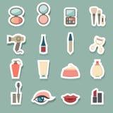 Geplaatste make-up Kosmetische pictogrammen Stock Foto's