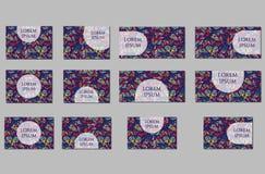Geplaatste malplaatjes Adreskaartjes, uitnodigingen en banners Royalty-vrije Stock Afbeeldingen