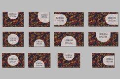 Geplaatste malplaatjes Adreskaartjes, uitnodigingen en banners Royalty-vrije Stock Afbeelding