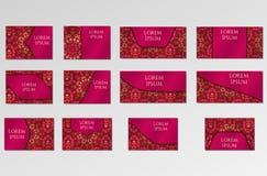 Geplaatste malplaatjes Adreskaartjes, uitnodigingen en banners Stock Foto's