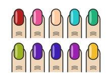 Geplaatste manicurevingers en kleurrijke spijkers vectorpictogrammen Stock Foto's