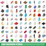 100 geplaatste manierpictogrammen, isometrische 3d stijl Royalty-vrije Stock Foto's