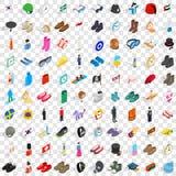 100 geplaatste manierpictogrammen, isometrische 3d stijl Stock Afbeelding