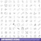 100 geplaatste marktpictogrammen, schetsen stijl Stock Afbeeldingen