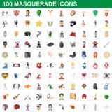 100 geplaatste maskeradepictogrammen, beeldverhaalstijl Royalty-vrije Stock Afbeelding