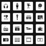 Geplaatste materiaal de pictogrammen van verschillende media, eenvoudige stijl royalty-vrije illustratie