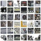 Geplaatste mechanismedelen en details Stock Foto's