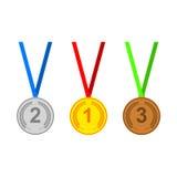 Geplaatste medaillepictogrammen Royalty-vrije Stock Foto