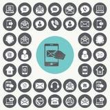 Geplaatste media en communicatie pictogrammen Royalty-vrije Stock Afbeelding