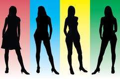 Geplaatste meisjes - 4. Silhouet Royalty-vrije Stock Afbeeldingen