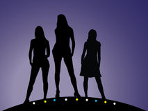 Geplaatste meisjes - 5. Silhouet Stock Foto's