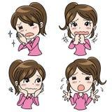 Geplaatste meisjes emotionele uitdrukking - Hulp royalty-vrije illustratie