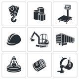 Geplaatste metallurgiepictogrammen Royalty-vrije Stock Afbeelding