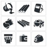 Geplaatste metallurgiepictogrammen Stock Foto's