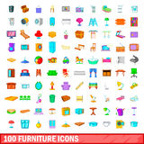 100 geplaatste meubilairpictogrammen, beeldverhaalstijl Stock Fotografie
