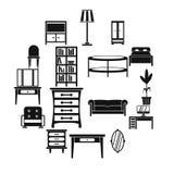 Geplaatste meubilairpictogrammen, eenvoudige stijl Stock Foto's