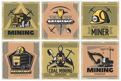 Geplaatste Mijnbouwaffiches stock illustratie