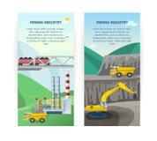 Geplaatste Mijnbouwbanners royalty-vrije illustratie