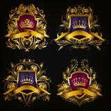 Geplaatste monogramemblemen Royalty-vrije Stock Fotografie