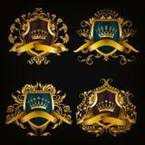 Geplaatste monogramemblemen Royalty-vrije Stock Afbeeldingen