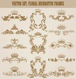 Geplaatste monogramemblemen Royalty-vrije Stock Foto's