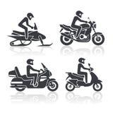 Geplaatste motorfietspictogrammen Royalty-vrije Stock Afbeelding