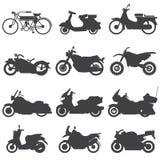 Geplaatste motorfietspictogrammen Vector illustratie Royalty-vrije Stock Afbeeldingen