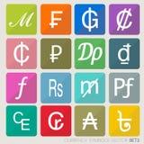 Geplaatste muntpictogrammen. Stock Foto's