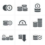 Geplaatste muntstukkenpictogrammen Royalty-vrije Stock Afbeeldingen