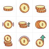 Geplaatste muntstukkenpictogrammen, Vectorontwerp Royalty-vrije Stock Afbeeldingen