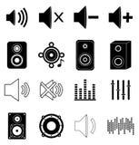 Geplaatste muziek correcte pictogrammen Stock Foto's