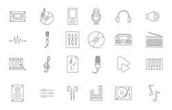 Geplaatste muziek zwarte pictogrammen Stock Foto's