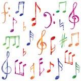 Geplaatste muzieknota's en tekens Hand getrokken muzikaal veelkleurig symbool Stock Foto