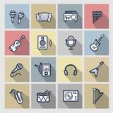 Geplaatste muziekpictogrammen Stock Fotografie
