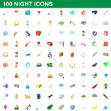 100 geplaatste nachtpictogrammen, beeldverhaalstijl stock illustratie