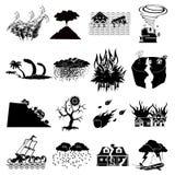 Geplaatste natuurrampenpictogrammen Royalty-vrije Stock Foto's