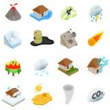 Geplaatste natuurrampenpictogrammen, isometrische 3d stijl Stock Fotografie