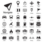 Geplaatste navigatiepictogrammen Royalty-vrije Stock Afbeeldingen
