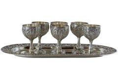 Geplaatste nikkel Zilveren glazen Stock Afbeeldingen