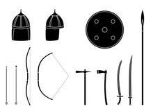 Geplaatste nomadewapens en pantsers Het materiaal van de nomadestrijder royalty-vrije illustratie