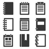 Geplaatste notitieboekjepictogrammen Stock Fotografie