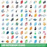 100 geplaatste notitieboekjepictogrammen, isometrische 3d stijl Royalty-vrije Stock Afbeeldingen