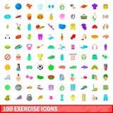 100 geplaatste oefeningspictogrammen, beeldverhaalstijl Royalty-vrije Stock Foto