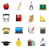 Geplaatste onderwijspictogrammen Stock Afbeelding