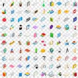 100 geplaatste onderwijspictogrammen, isometrische 3d stijl Stock Afbeeldingen