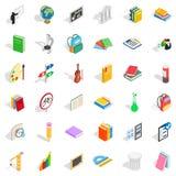 Geplaatste onderwijspictogrammen, isometrische stijl Royalty-vrije Stock Afbeeldingen