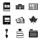 Geplaatste onderzoekerspictogrammen, eenvoudige stijl Royalty-vrije Stock Afbeelding