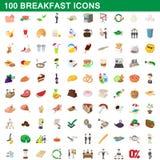 100 geplaatste ontbijtpictogrammen, beeldverhaalstijl royalty-vrije illustratie