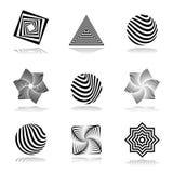 Geplaatste ontwerpelementen. Abstracte grafische pictogrammen. Royalty-vrije Stock Fotografie
