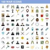 100 geplaatste oorlogspictogrammen, vlakke stijl stock illustratie